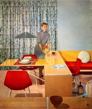 Intérieur meublé avec des éléments Minvielle Le Décor d'aujourd'hui, n° 94, 1955