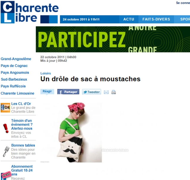 Publication sac moustache Charente Libre