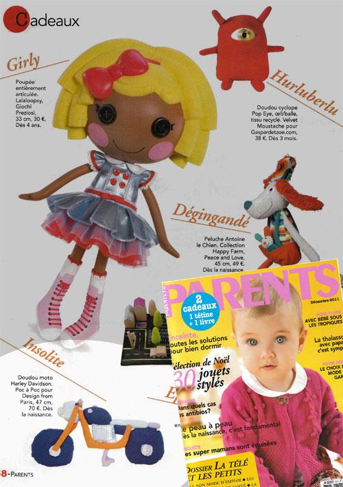 Doudou moto Poc a Poc magazine Parents Décembre 2011