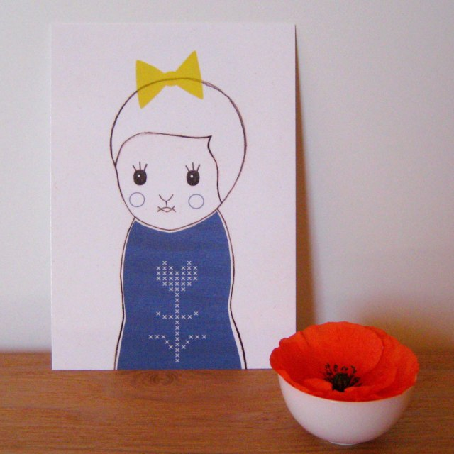 Carte postale Kokeshi  Par Audrey Jeanne