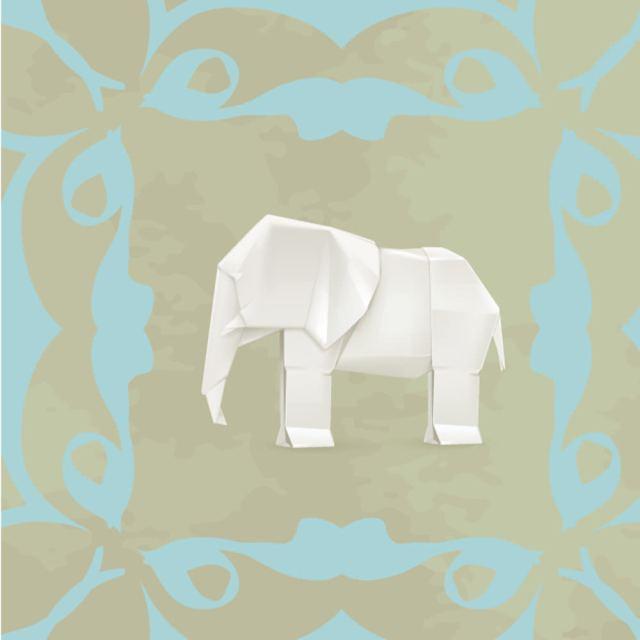 Lé de papier peint - 192013E - Elephant origami  Lé Papiers de Ninon : 49.95 € sur DesignfromParis.com