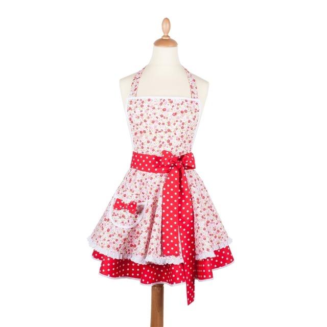Tablier femme vintage Petites fleurs rose et rouge  Madame Choup : 65 € sur DesignfromParis.com