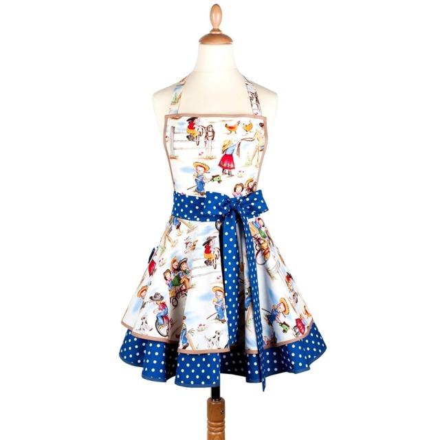 Tablier femme vintage Little Cowboys bleu  Madame Choup : 65 € sur DesignfromParis.cim