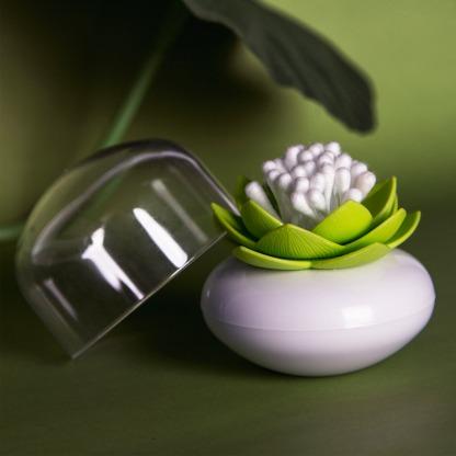 Distributeur de coton tige - Lotus vert et blanc  Qualy Design : 13.90 € sur DesignfromParis.com
