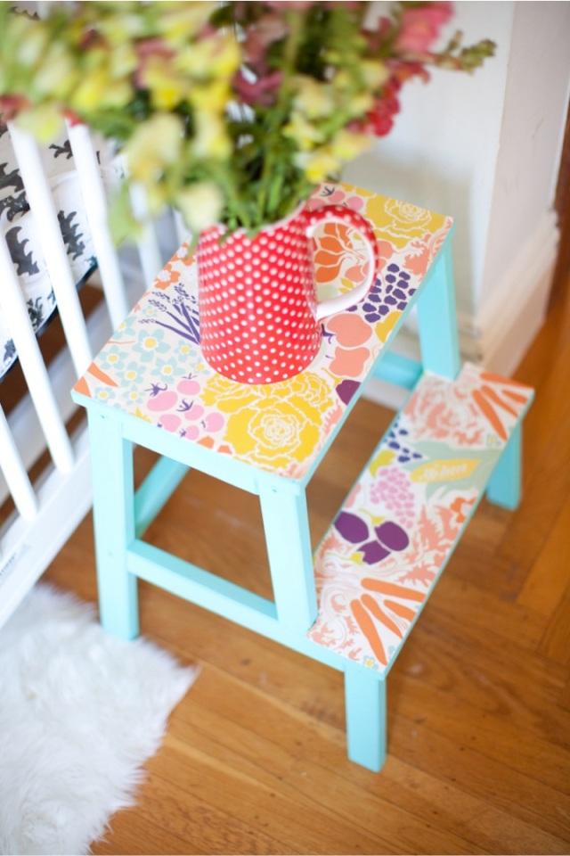 diy customiser un marche pieds. Black Bedroom Furniture Sets. Home Design Ideas