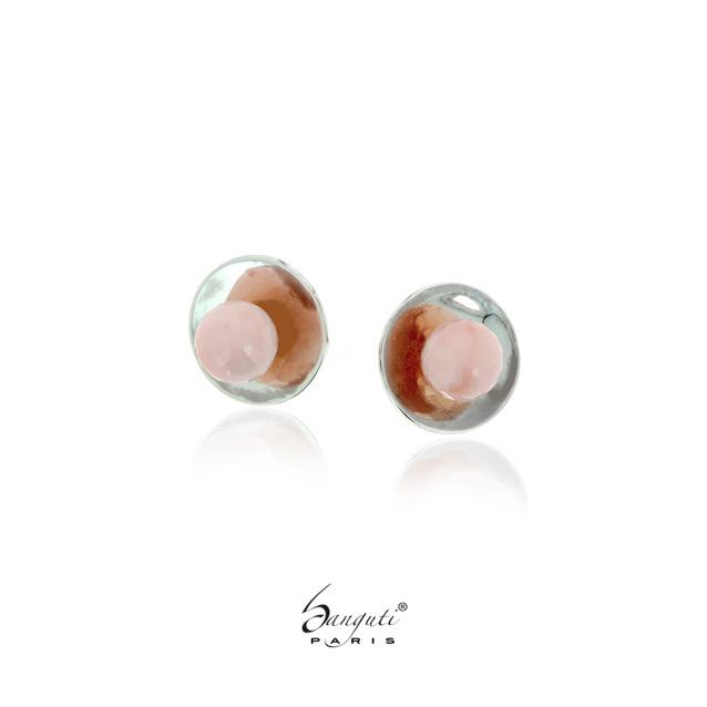 boutons de manchettes opale rose
