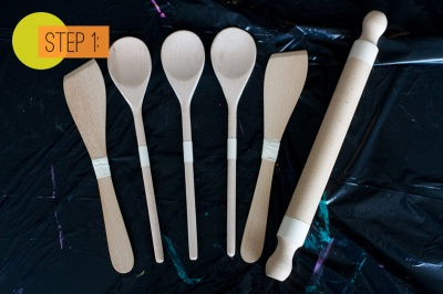 Paint-Dipped-Wooden-Spoons-Spatulas-Rolling-Pin-Home-DIY-Colourful-Kitchen-Step-1